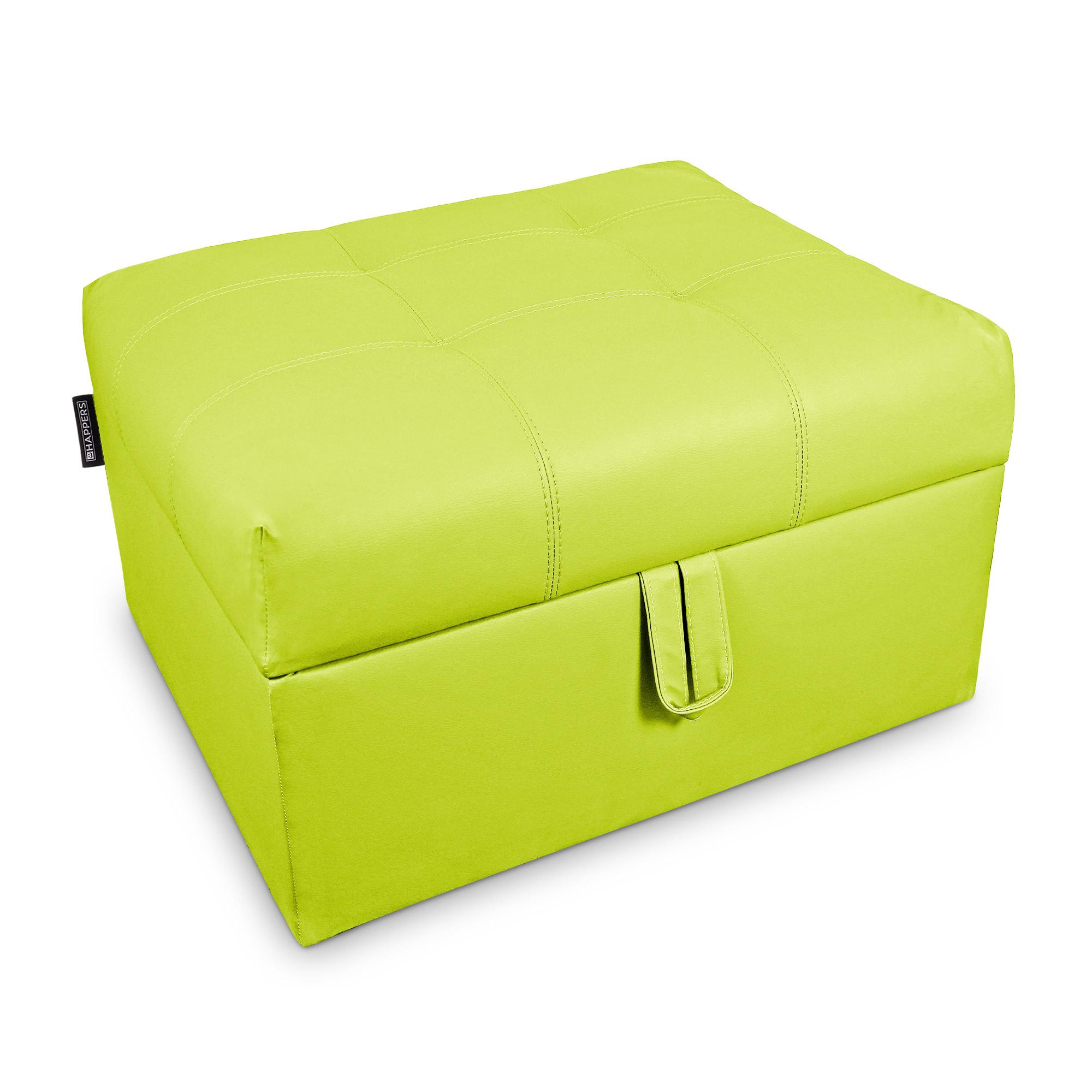Cama plegable. Puff Arcón con somier plegable Polipiel Indoor Verde  | Happers.es