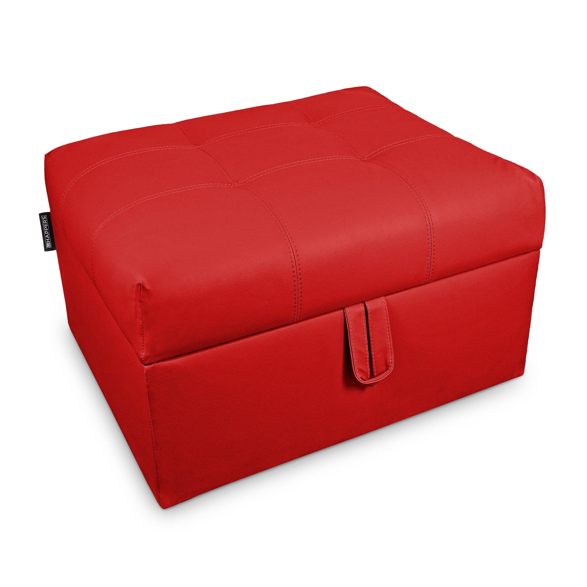 Cama plegable. Puff Arcón con somier plegable Polipiel Indoor Rojo  | Happers.es
