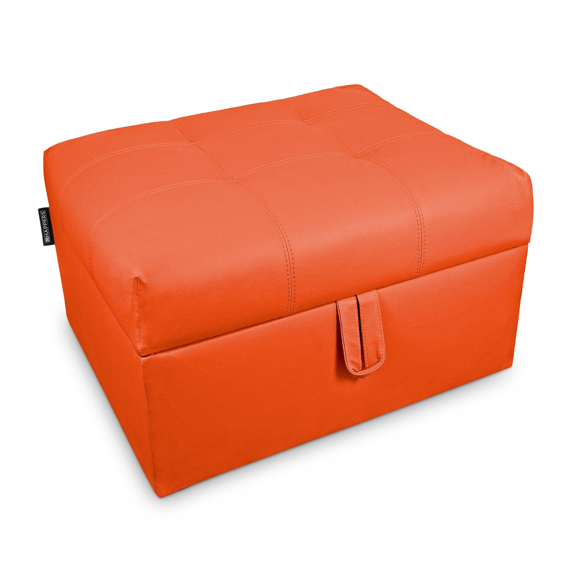 Cama plegable. Puff Arcón con somier plegable Polipiel Indoor Naranja  | Happers.es