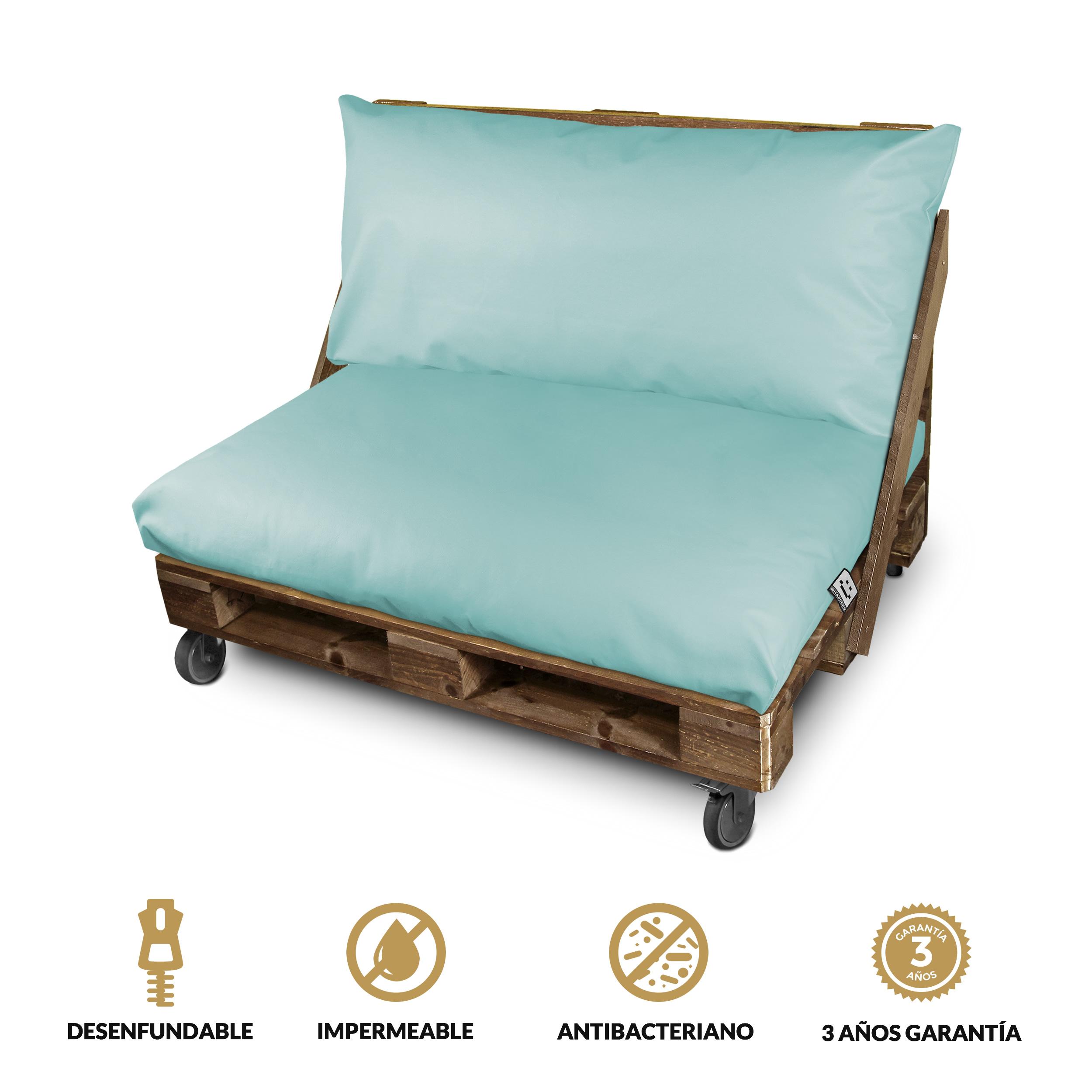 Set de Cojines Impermeables y Desenfundables en Polipiel para Palets de exteior Azul Cielo