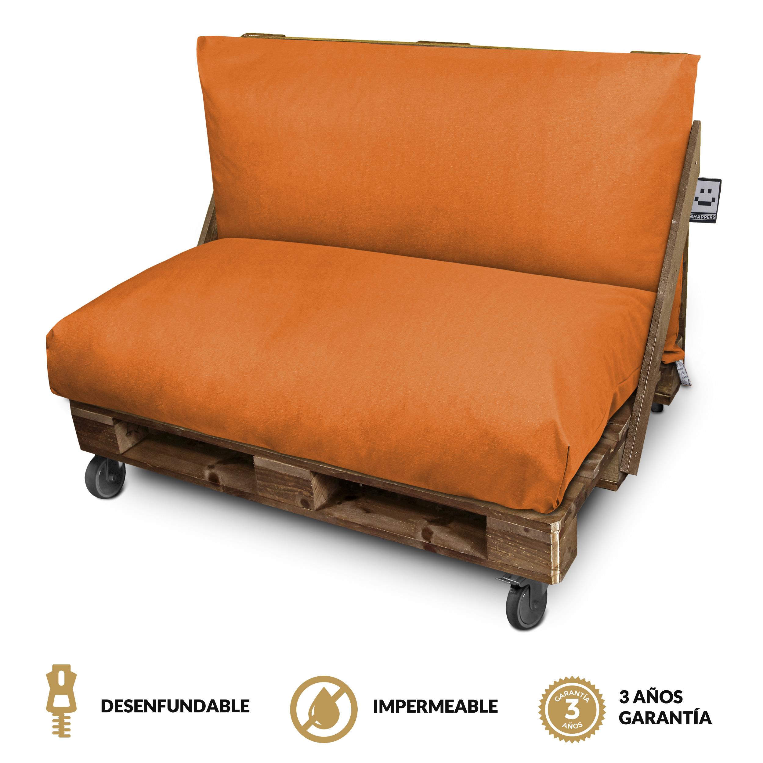 Set de Cojines Impermeables y Desenfundables en Naylim Mate para Palets de exteior Naranja