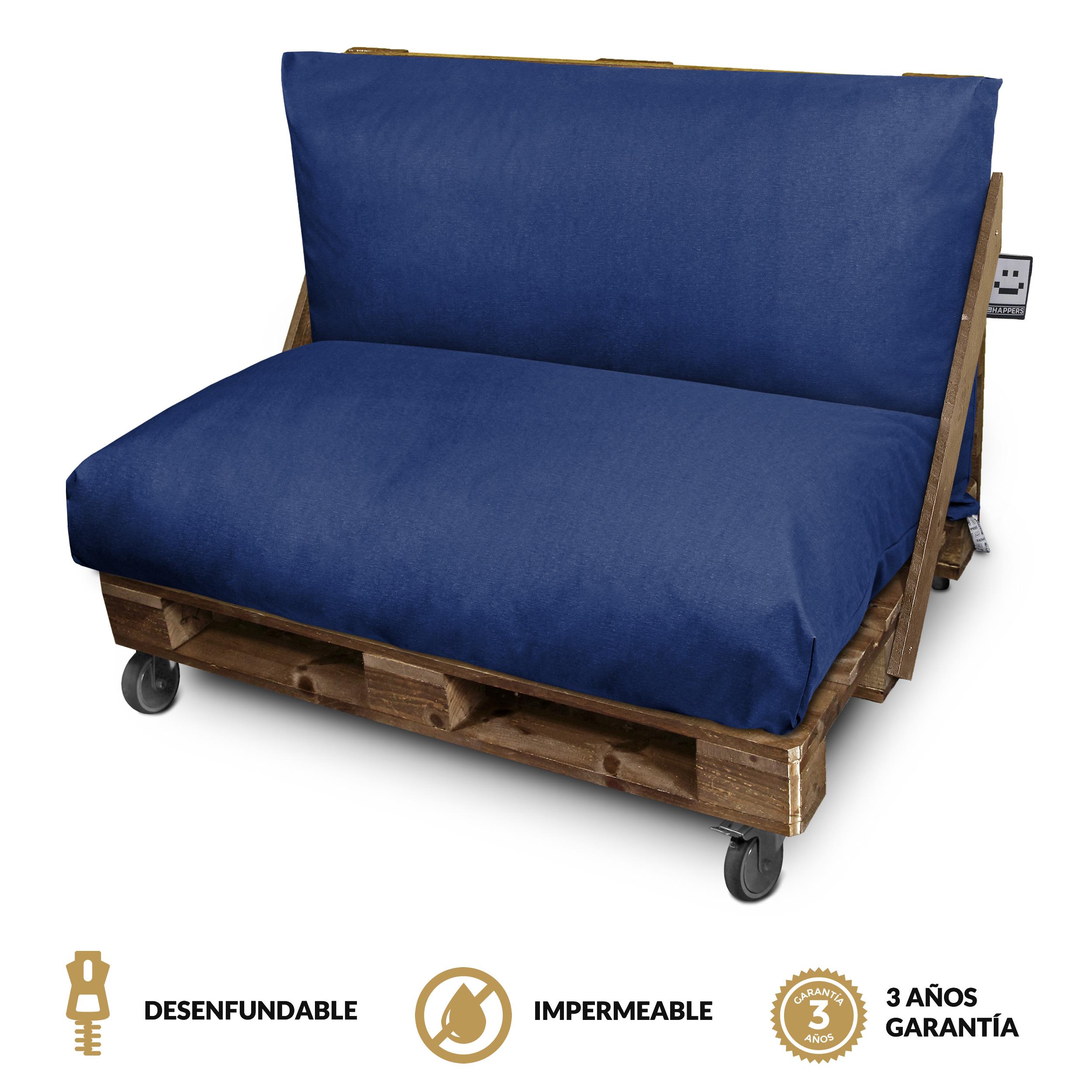 Set de Cojines Impermeables y Desenfundables en Naylim Mate para Palets de exteior Azul