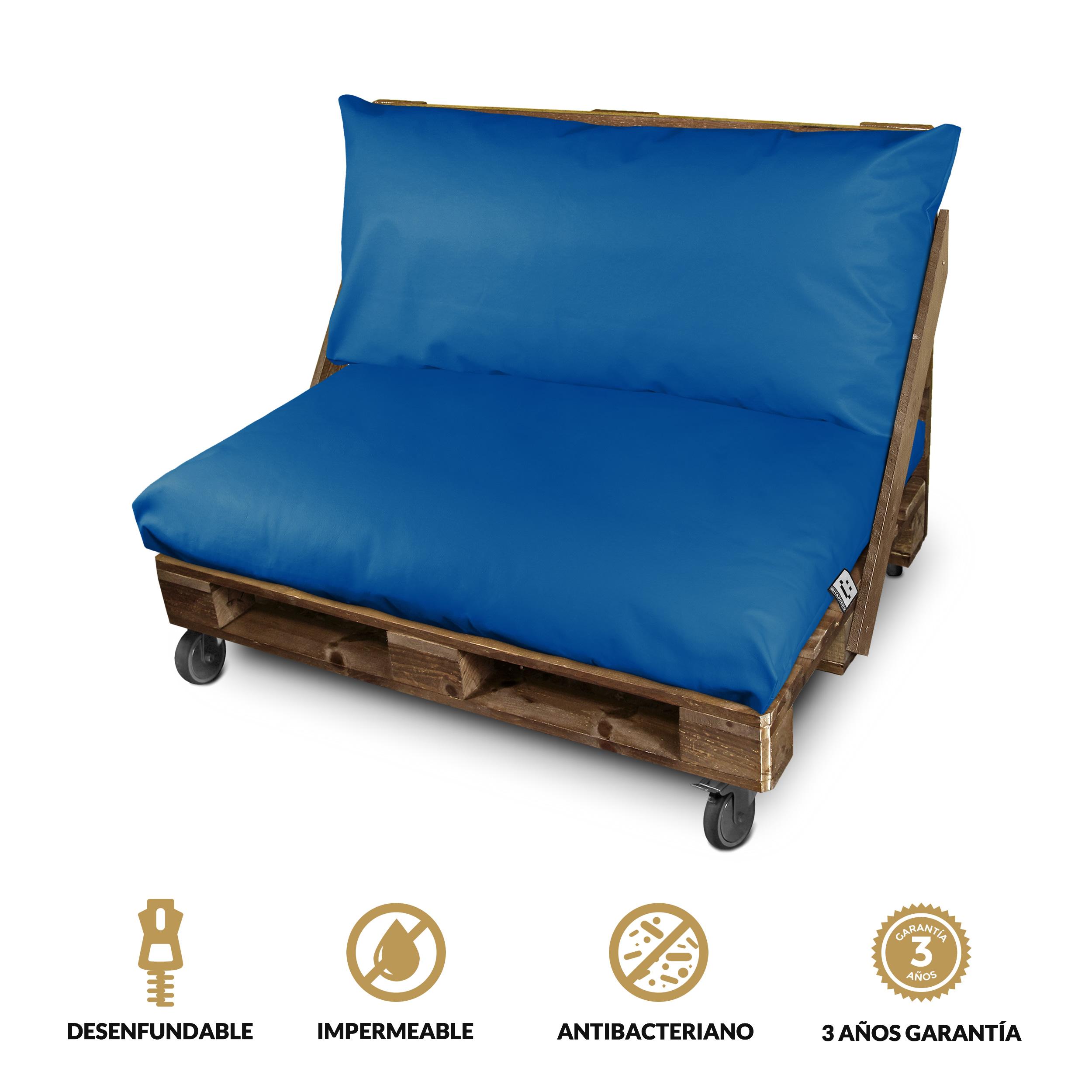 Set de Cojines Impermeables y Desenfundables para Palet en Polipiel Azul