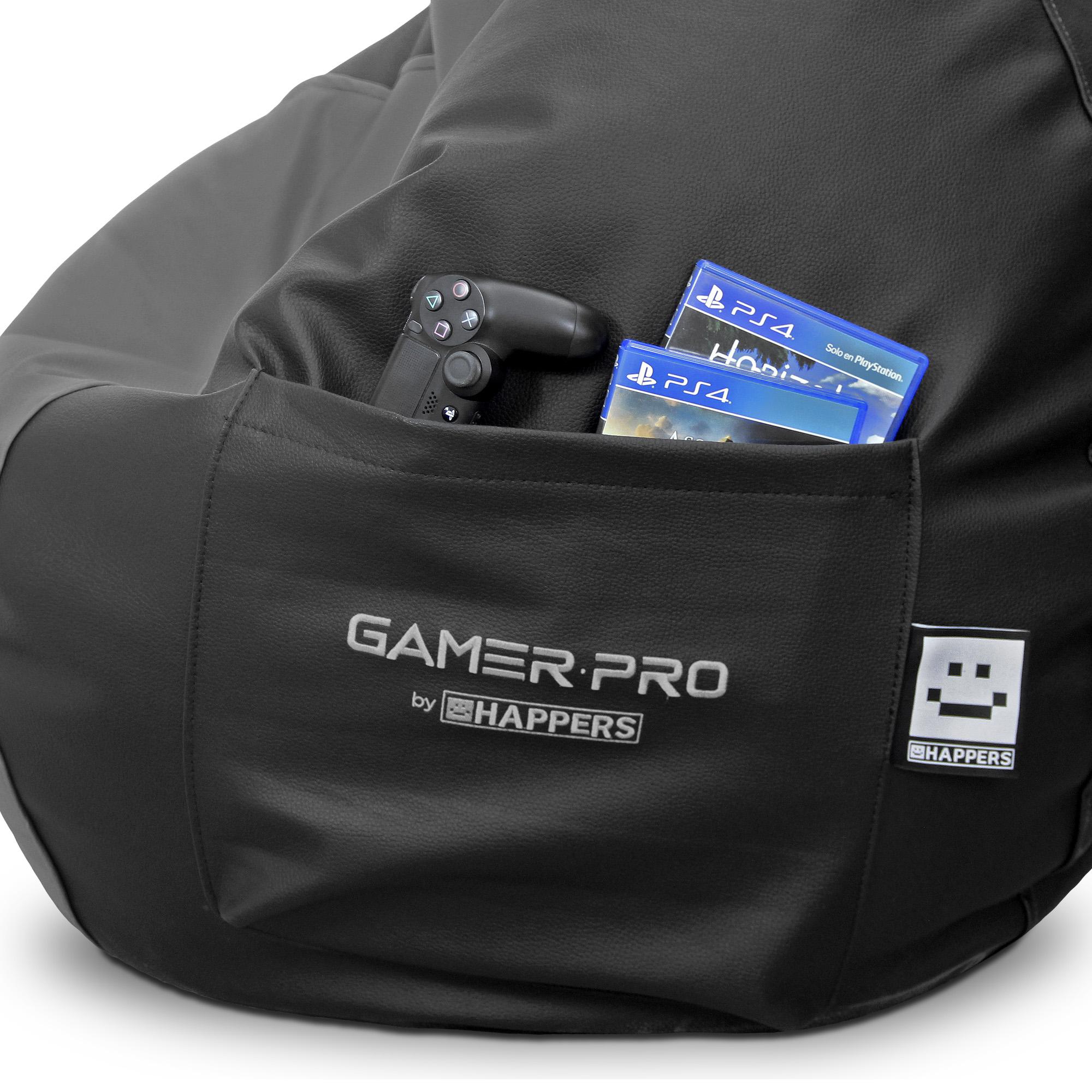 Pouf Gamer PRO Similicuir Indoor Gris XXL HAPPERS. Idéal pour jouer avec votre Playstation, Xbox, Wii. (2)
