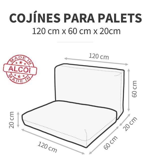 Cojín Asiento Palet Exterior Negro 120x60 Happers (120x60x20 - negro - )