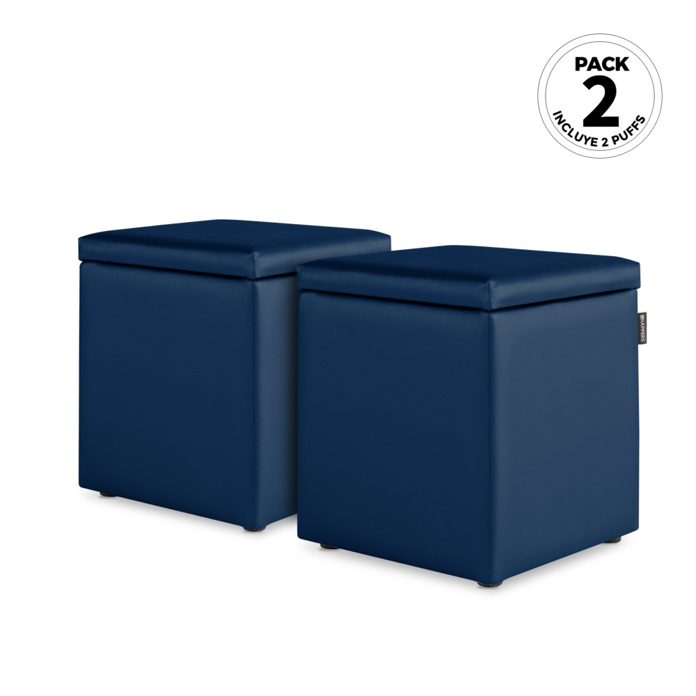 PACK 2 Puff Cubo Arcon Polipiel Indoor Azul Happers (PACK 2 UNIDADES - azul - )