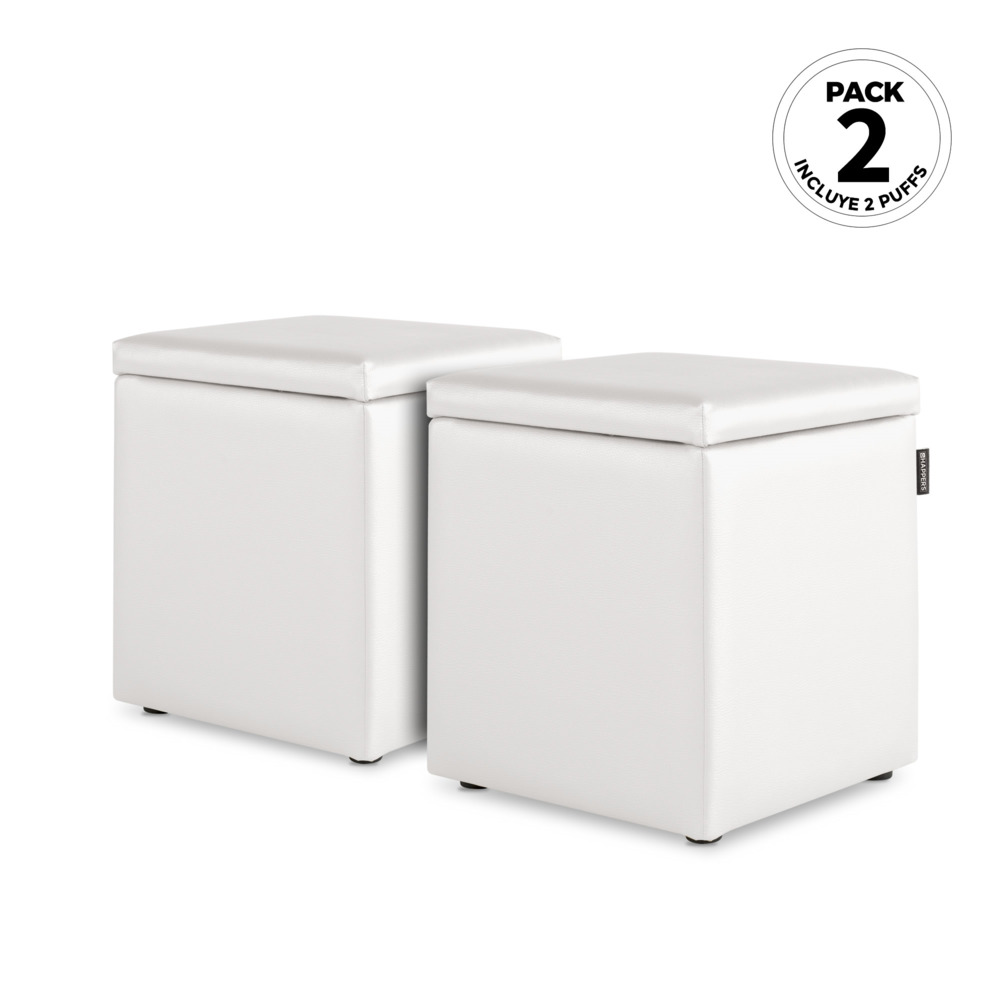 PACK 2 Puff Cubo Arcon Polipiel Indoor Blanco Happers (PACK 2 UNIDADES - blanco - )