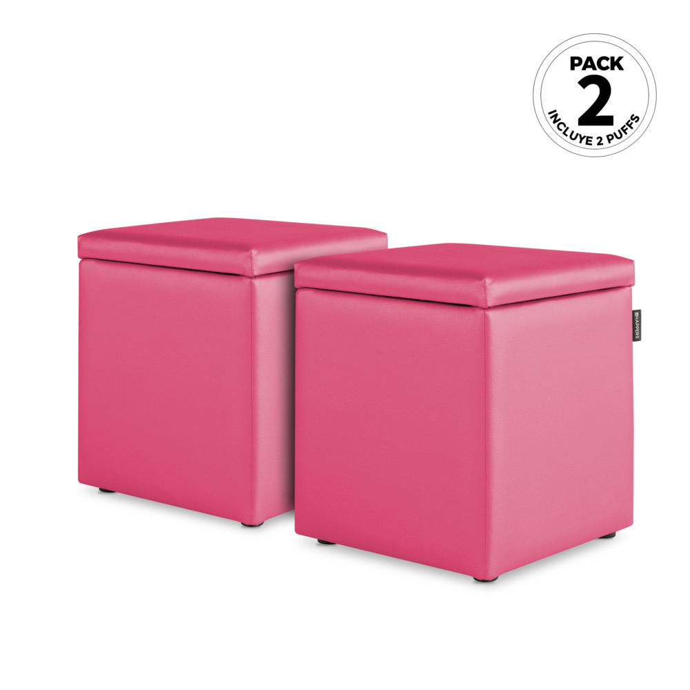 PACK 2 Puff Cubo Arcon Polipiel Indoor Fucsia Happers (PACK 2 UNIDADES - Fucsia - )