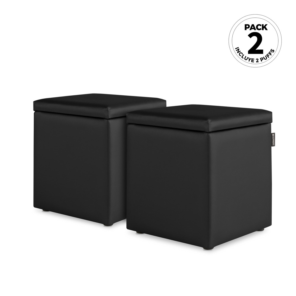 PACK 2 Puff Cubo Arcon Polipiel Indoor Negro Happers (PACK 2 UNIDADES - negro - )