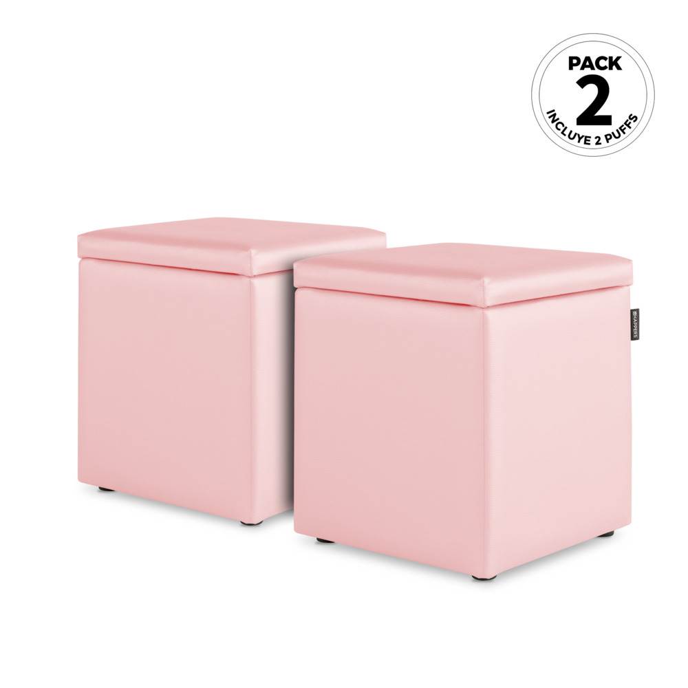 PACK 2 Puff Cubo Arcon Polipiel Indoor Rosa Happers (PACK 2 UNIDADES - Rosa - )