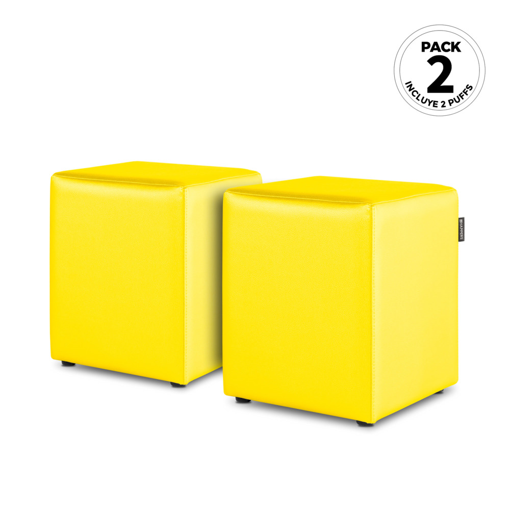 PACK 2 Puff Cubo Polipiel Indoor Amarillo Happers (PACK 2 UNIDADES - amarillo - )