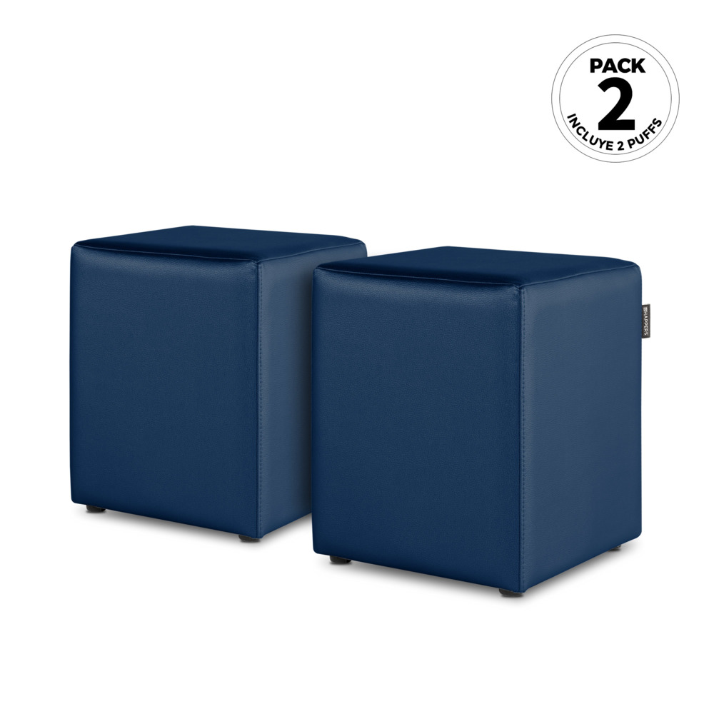 PACK 2 Puff Cubo Polipiel Indoor Azul Happers (PACK 2 UNIDADES - azul - )
