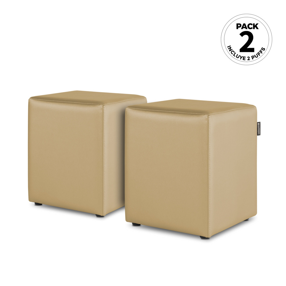 PACK 2 Puff Cubo Polipiel Indoor Beige Happers (PACK 2 UNIDADES - beige - )