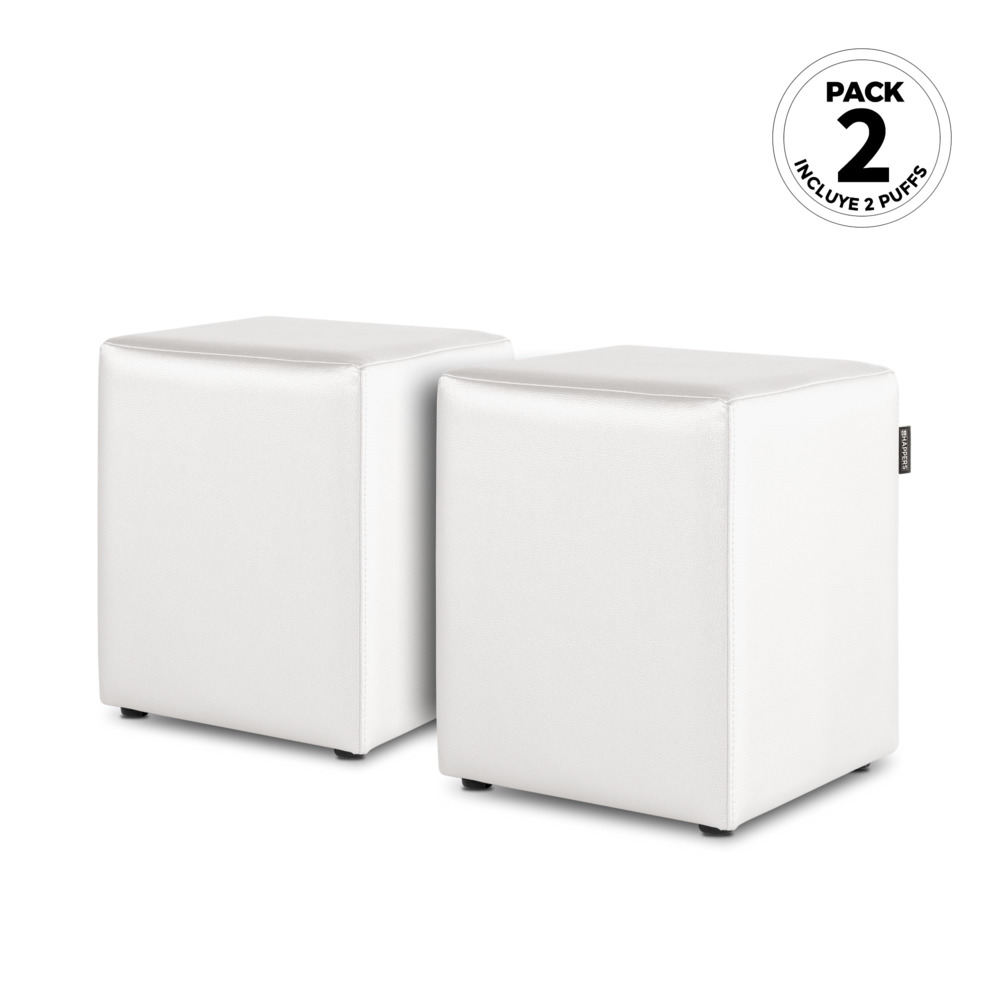 PACK 2 Puff Cubo Polipiel Indoor Blanco Happers (PACK 2 UNIDADES - blanco - )