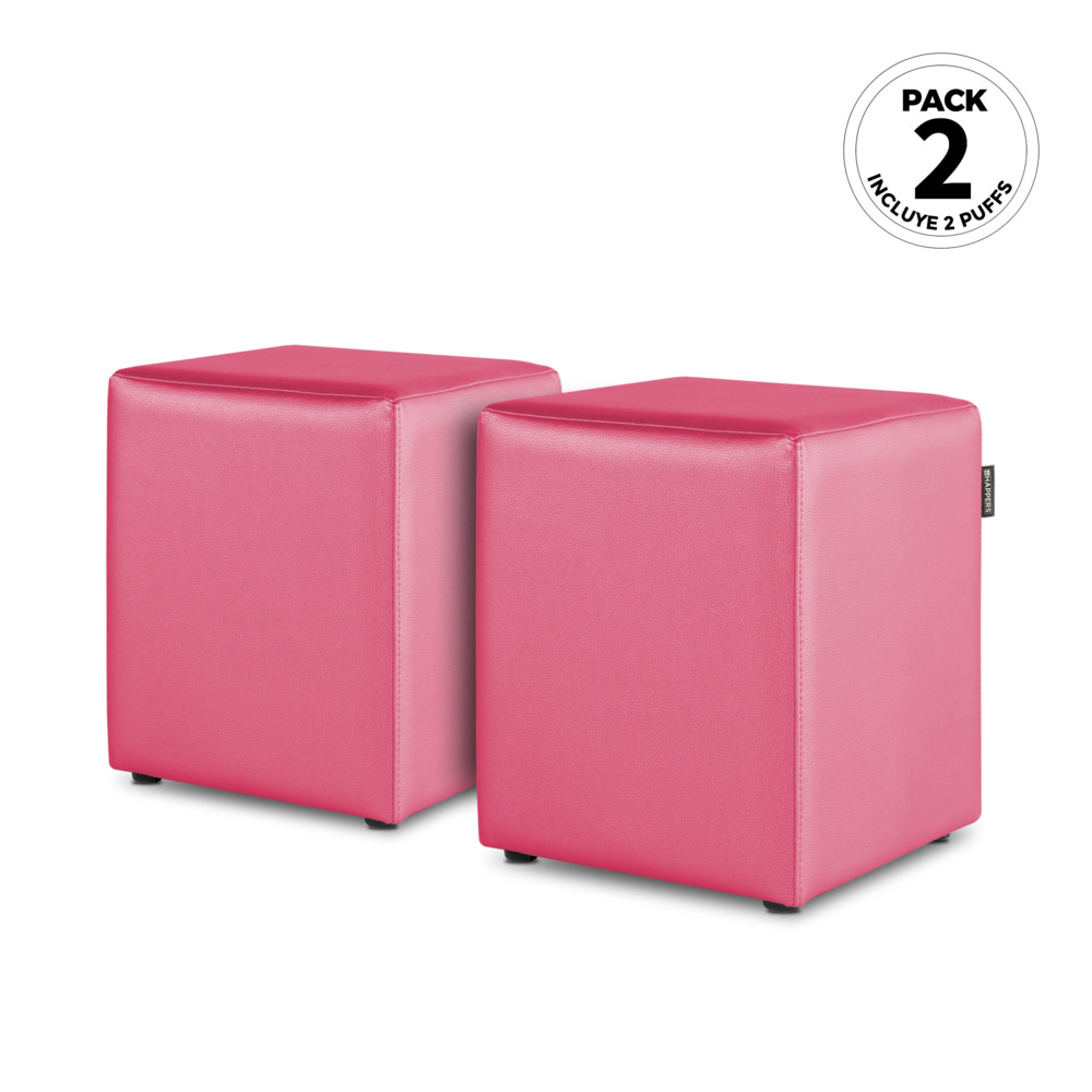 PACK 2 Puff Cubo Polipiel Indoor Fucsia Happers (PACK 2 UNIDADES - Fucsia - )