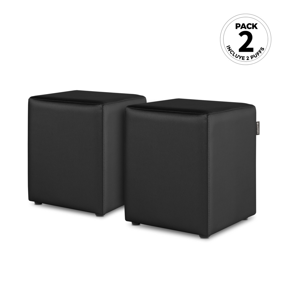 PACK 2 Puff Cubo Polipiel Indoor Negro Happers (PACK 2 UNIDADES - negro - )