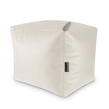 Puff Cuadrado Polipiel Outdoor Blanco Happers | Happers.es