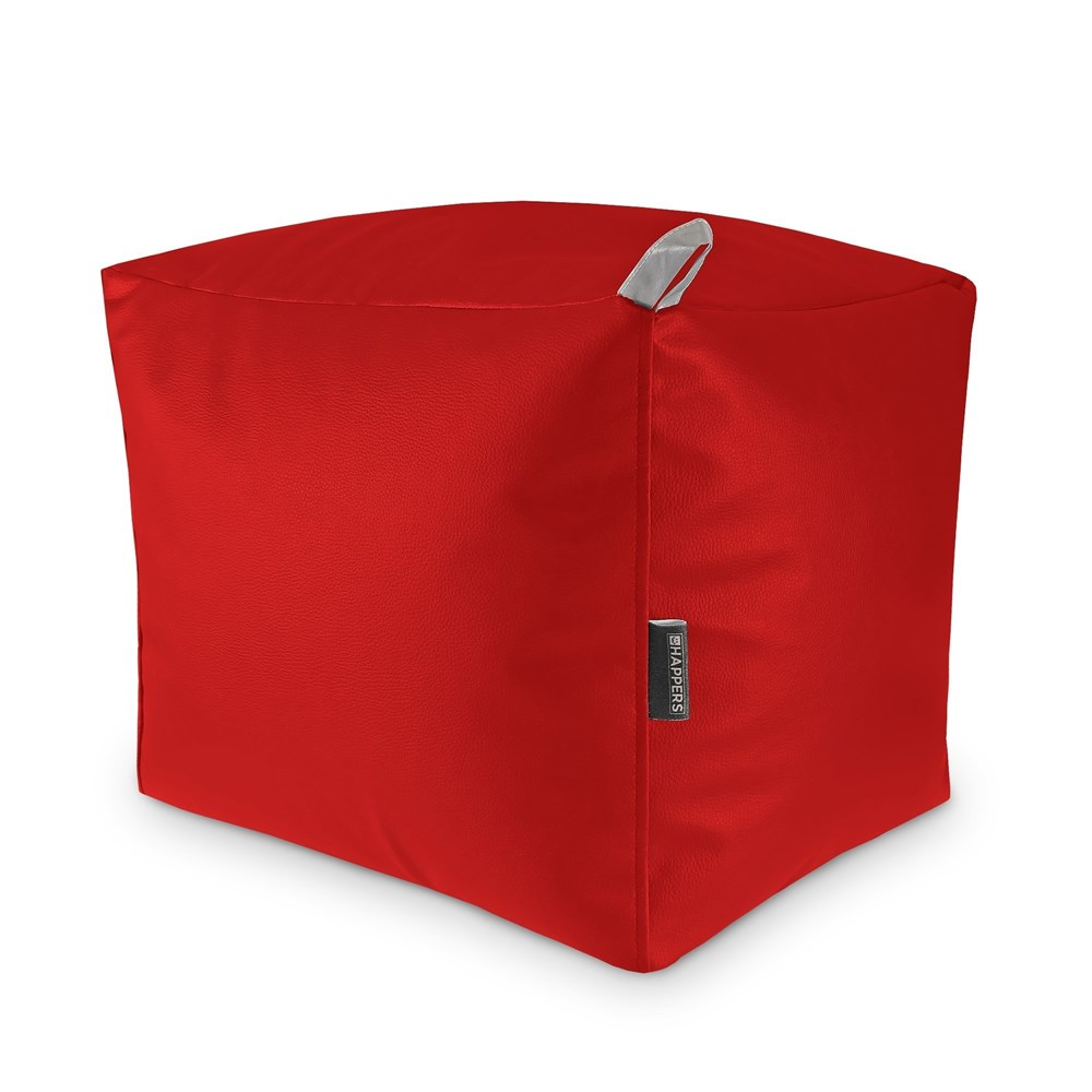 Puff Cuadrado Polipiel Outdoor Rojo Happers