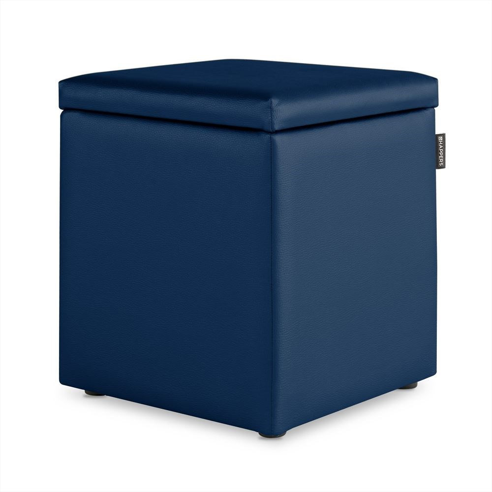 Puff Cubo Arcon Polipiel Indoor Azul Happers