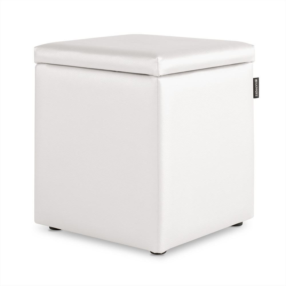 Puff Cubo Arcon Polipiel Indoor Blanco Happers
