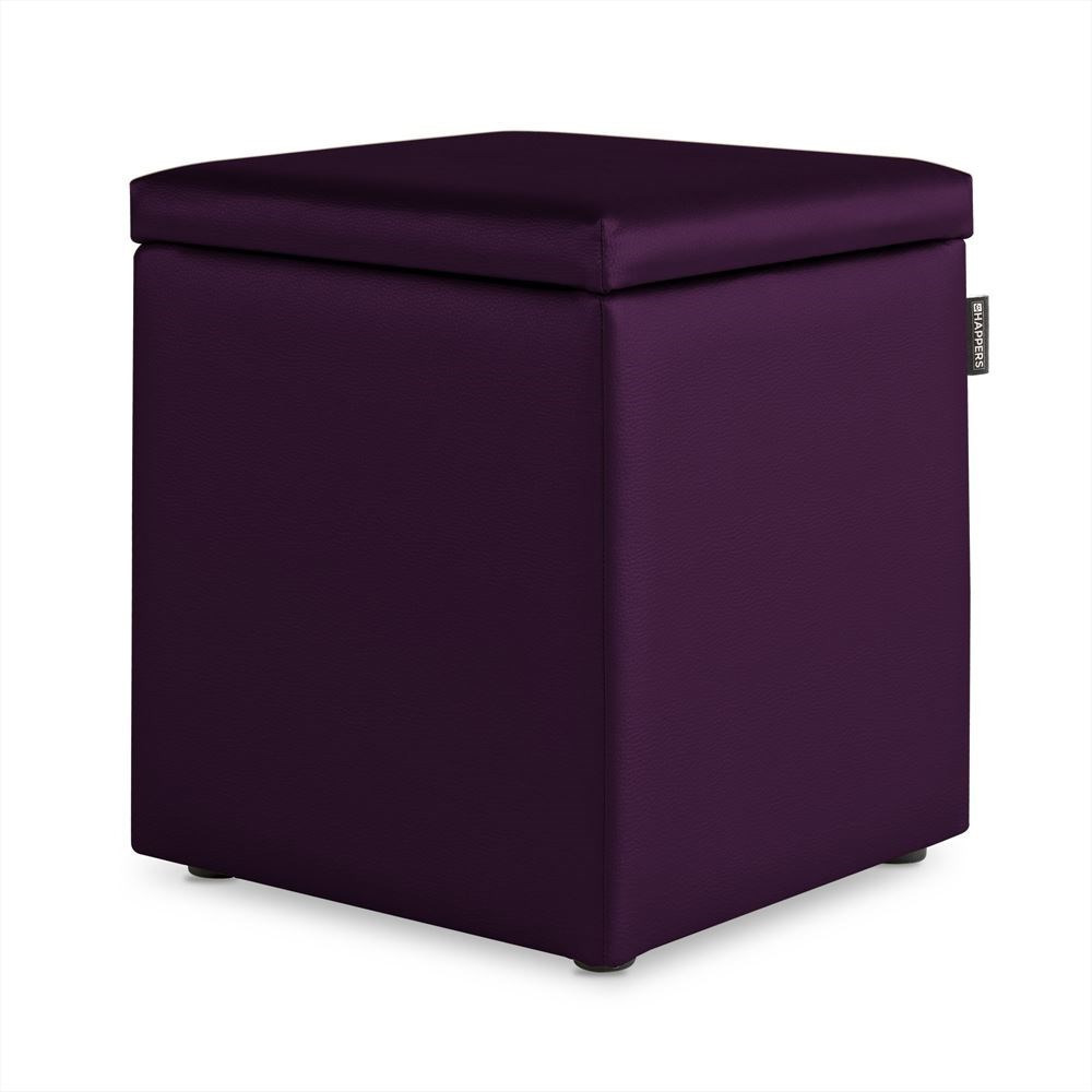 Puff Cubo Arcon Polipiel Indoor Morado Happers