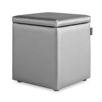 Puff Cubo Arcon Polipiel Indoor Plata Happers | Happers.es