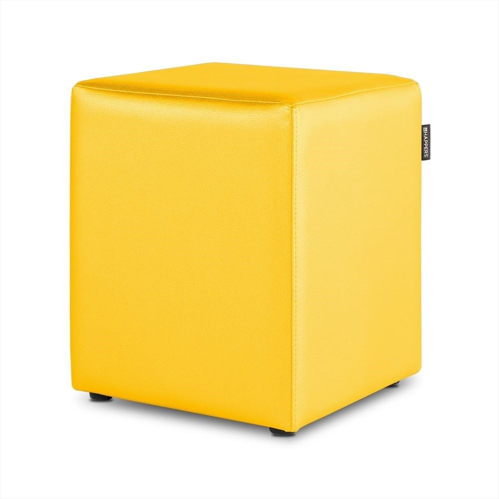 Puff Cubo Polipiel Indoor Amarillo Happers