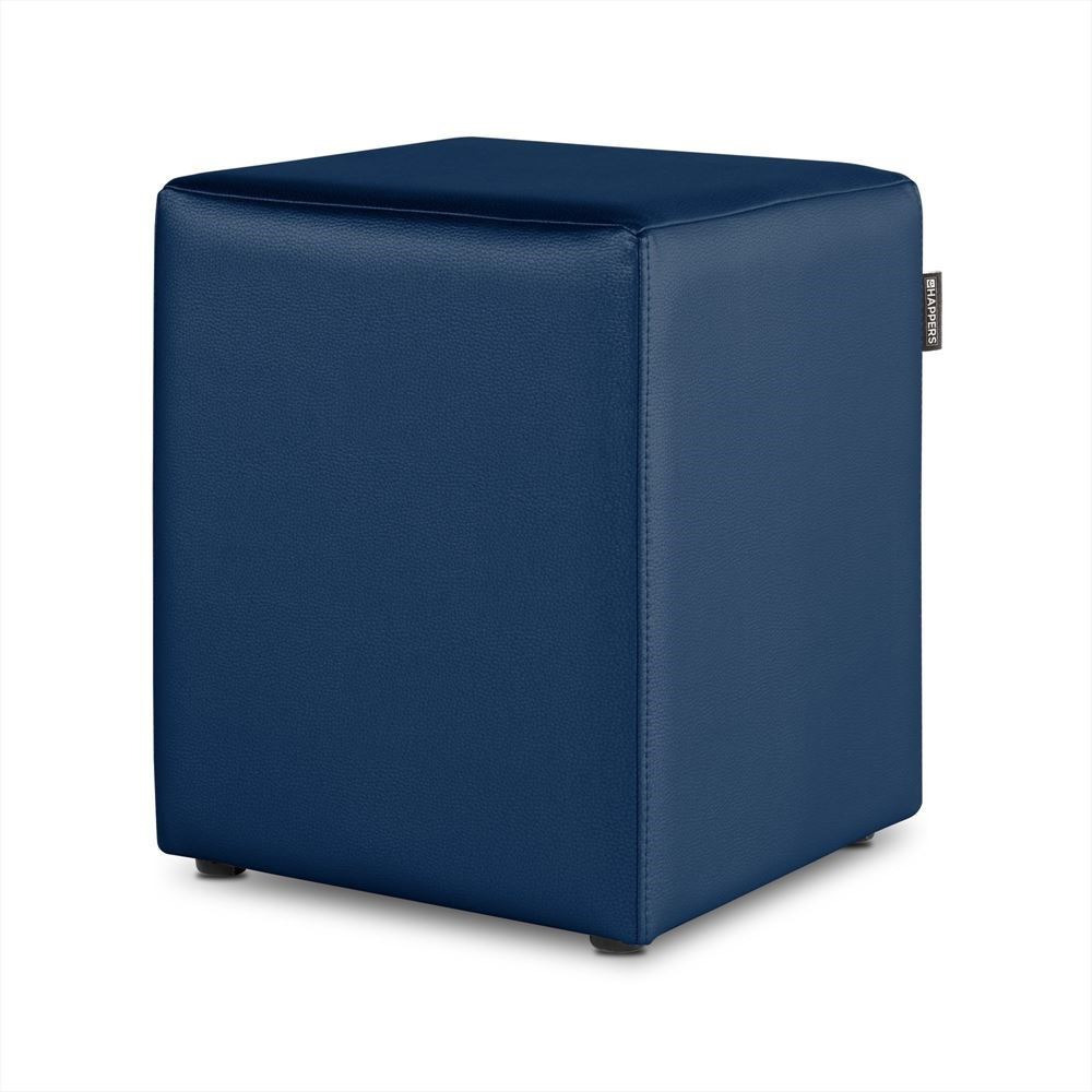 Puff Cubo Polipiel Indoor Azul Happers
