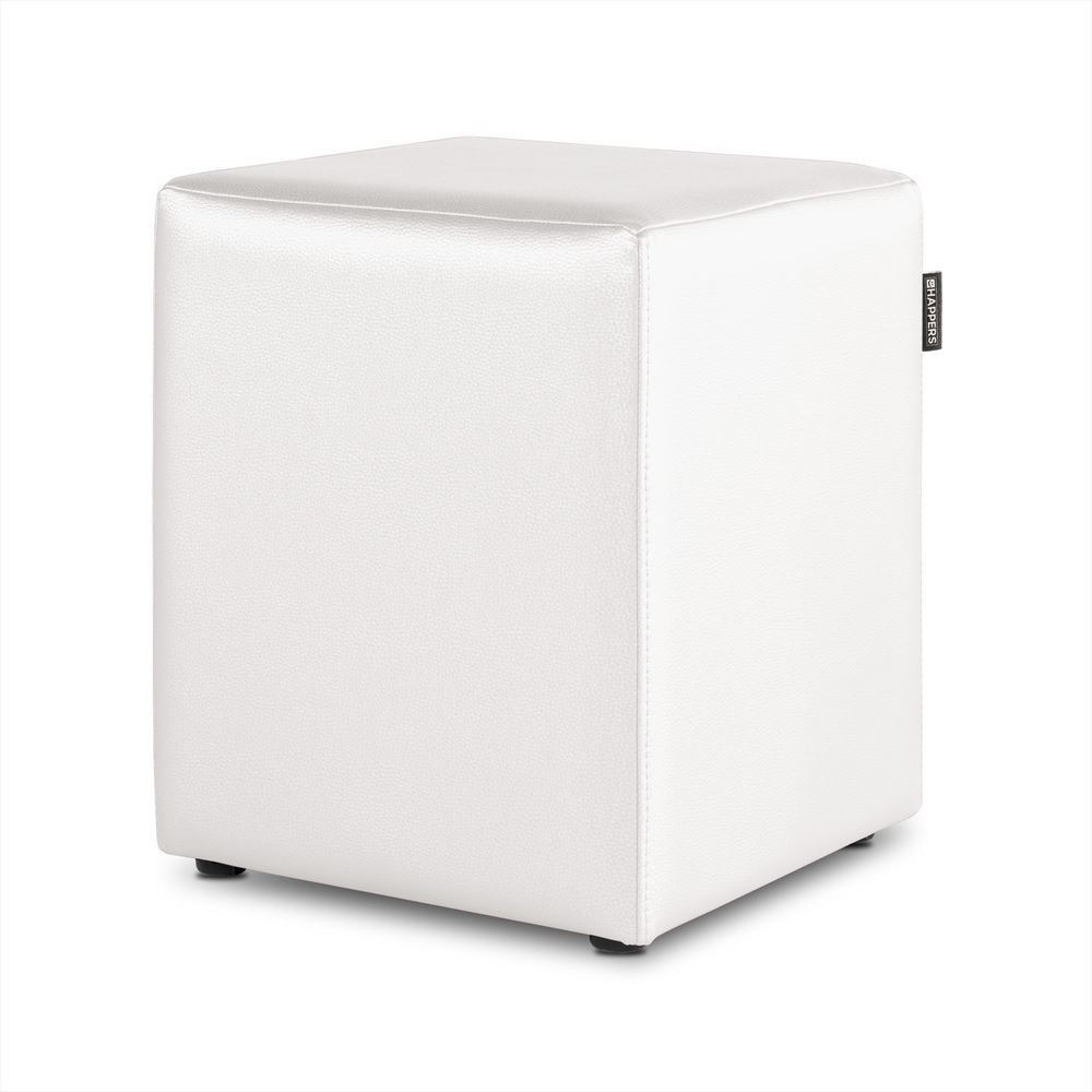 Puff Cubo Polipiel Indoor Blanco Happers
