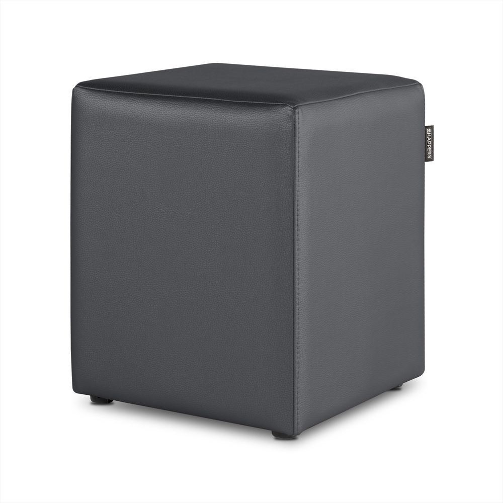 Puff Cubo Polipiel Indoor Gris Happers
