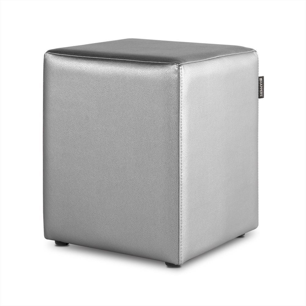 Puff Cubo Polipiel Indoor Plata Happers