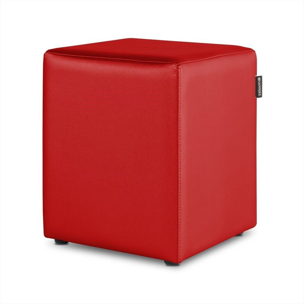 Puff Cubo Polipiel Indoor Rojo Happers