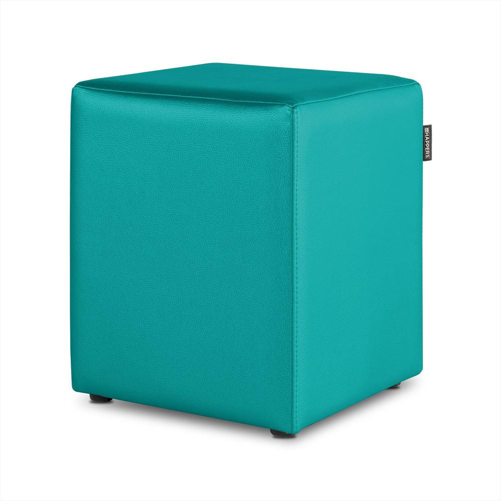 Puff Cubo Polipiel Indoor Turquesa Happers