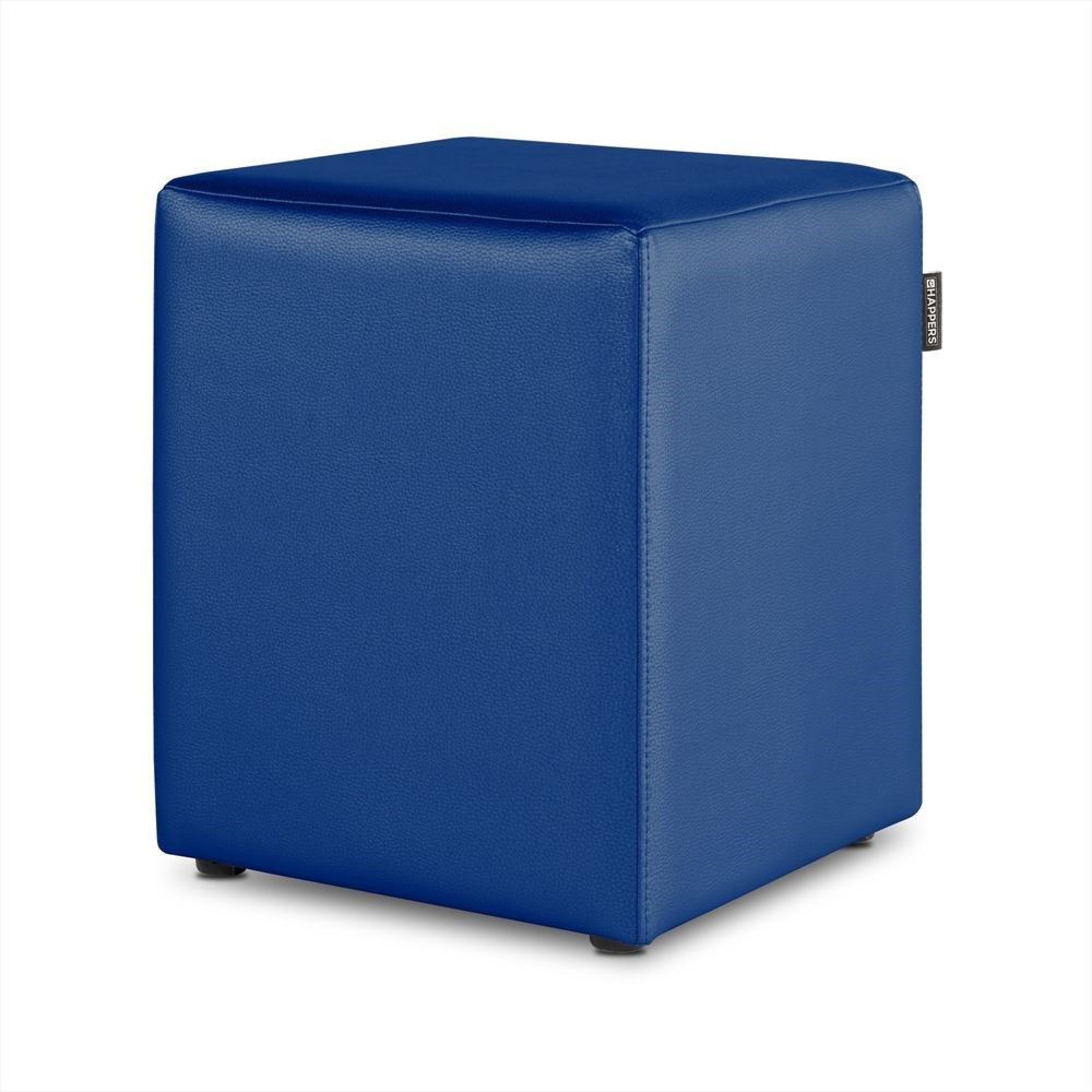 Puff Cubo Polipiel Outdoor Azul Happers
