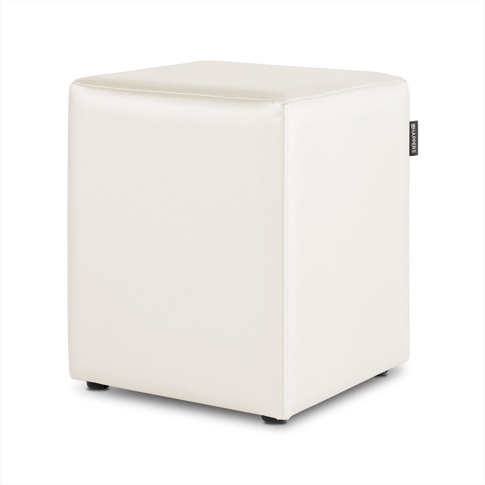 Puff Cubo Polipiel Outdoor Blanco Happers