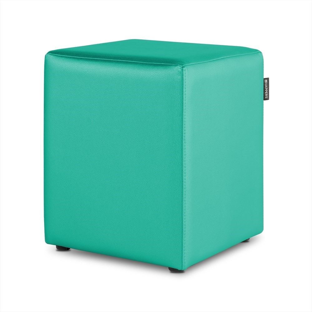 Puff Cubo Polipiel Outdoor Turquesa Happers