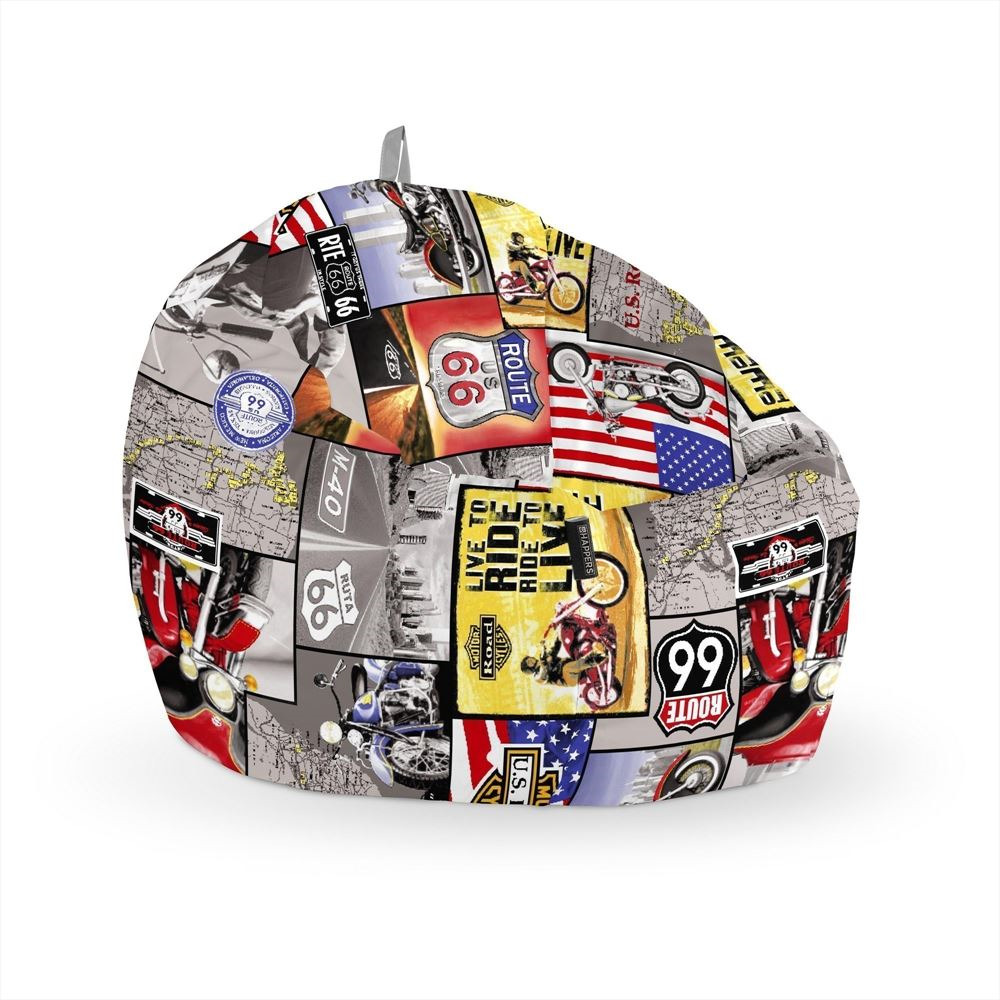 Puff Pelota Estampado Ruta 66 Happers